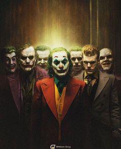willgray_art All seven live action Jokers throughout history. From left to right; Cesar Romero in Batman Heath Joker Comic, Le Joker Batman, The Joker, Joker Art, Batman Art, Joker And Harley Quinn, Comic Art, Gotham Batman, Batman Robin