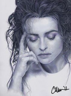 Helena Bonham Carter Drawing  Post-A-Drawing-Friday. Prismacolor pencils (and one abused colourless blending pencil) on Strathmore.