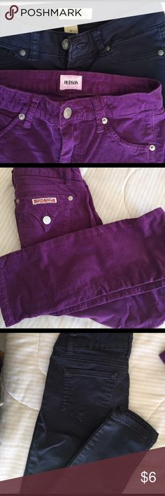 Girls pants : slim fit Blue Spice/ Hudson Blue  spice size 0 juniors size. Navy blue. Khaki pants. Soft material. Slim fit. Good used condition. No holes/stains.    Hudson pants corduroy. Velvety material good used condition. Slim fit. Size 16 eggplant purple color. The fit for both is the same. From pet free smoke free home Bottoms Casual
