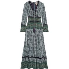 SEA Crochet-trimmed printed silk maxi dress (£715) ❤ liked on Polyvore featuring dresses, maxi dress, vintage silk dress, green maxi dress, green silk dress and tie neck tie