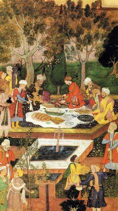 Babur Entertained by Badi uz-Zaman-Mirza in the Jahan Ara Garden in Herat (lower)    Miniatures from the Babur-nama manuscript. India. Mogul style. Late 16th century    The Museum of Oriental Art, Moscow