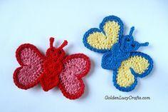 Patrón de crochet mariposa Applique PDF File GoldenLucyCrafts POR