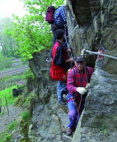 Mittelrhein Klettersteig | boppard-tourismus Rock Climbing Equipment, Walking Paths, Mountain Range, Climbers, Walk On, Germany, Hiking, Challenges, Tours