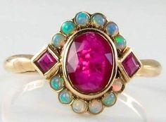 CLASSIC ENGLISH 9CT RICH RUBY & AUS OPAL CLUSTER RING   Jewelry & Watches, Vintage & Antique Jewelry, Fine   eBay!