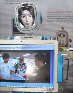 Avatar head in a robot's body - This innovative Japanese robot designer incorporated an animated virtual character into the head of its interact robot and gave it a video screen to carry around. The futuristic combination allows the user to choose the appearance of the avatar face and the language it speaks. Its built-in camera can aid in presentations and it can be remotely controlled. Is this the next big thing in Japanese homes? Or US tradeshows?