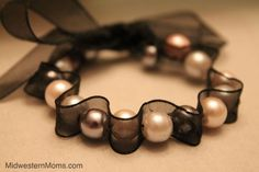 Pearl/Ribbon DIY bracelet! So pretty!