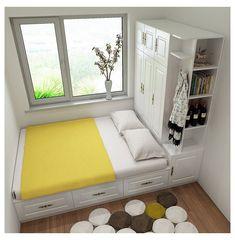 Small Room Design Bedroom, Bedroom Designs For Couples, Small Bedroom Interior, Small Bedroom Storage, Wardrobe Design Bedroom, Room Ideas Bedroom, Modern Bedroom, Space Saving Bedroom Furniture, Diy Furniture