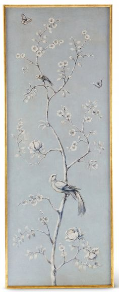 Uccello I Panel from Collection Ten by @ebanistacollect. Antiqued French blue oil painting in a gold and walnut gallery frame. Discover more at www.ebanista.com