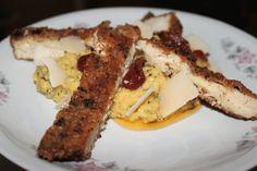 Mandel-Kräuter-Schnitzel mit cremiger Zucchini-Polenta Vegan, Polenta, Zucchini, Eat Lunch, Meat, Cooking, Recipies, Vegans