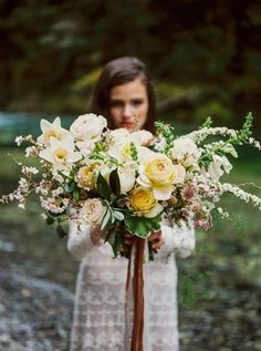 Spring pastel bridal bouquet with peach, pink and yellow flowers like garden roses, spirea, and daffodils by Portland, Oregon Wedding Florist - Foraged Floral Wedding Flower Guide, Yellow Wedding Flowers, Floral Wedding, Yellow Flowers, Wedding Ideas, Wedding Photos, Yellow Weddings, Gold Wedding, Wedding Bride