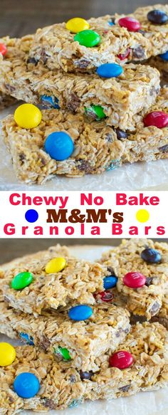 Chewy No Bake Peanut Butter and M&M Granola Bars! Great snack or lunchbox treat!