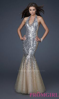 Sequin Halter Tulle Mermaid Dress  at PromGirl.com