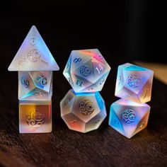 Raised Full Set Dichroic Glass Polyhedral Dice Set Gemstone DnD Dice Set - Dungeons and Dragons, R Moon Stars, Dragon Dies, Dungeons And Dragons Dice, Glass Gemstone, Idee Diy, Dichroic Glass, Decir No, Creations, Handmade Items