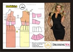 corporate VB style dress pattern, with peplum waist and strong shoulders, two recent trends Diy Clothing, Clothing Patterns, Dress Patterns, Modelos Fashion, Modelista, Techniques Couture, Easy Sewing Patterns, Diy Fashion, Fashion Design