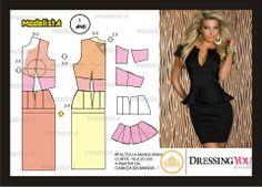 Modelagem de conjunto de saia e blusa com peplum. Fonte: https://www.facebook.com/photo.php?fbid=568642683171641&set=a.426468314055746.87238.422942631074981&type=1&theater