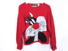 90's Looney Tunes Cropped Knit Sweater size by NightAfterNight