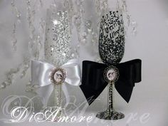 Foto champagne flutes  Personalized LACE Black & by DiAmoreDS, $51.00