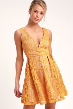 f3118c8e07 All of My Heart Mustard Yellow Lace Skater Dress