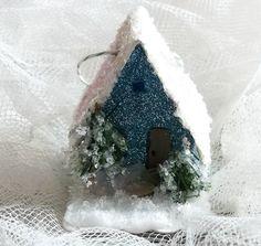 Vintage Putz Style Miniature Sapphire Blue Glitter Sugar House Shabby Christmas Village Ornament Bottle Brush Tree. $16.00, via Etsy.