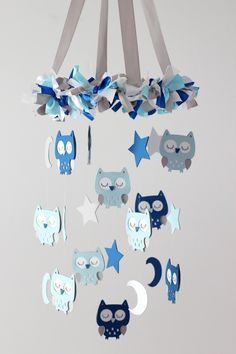Owl Nursery Mobile in Baby Blue, Cobalt Blue, Gray & White