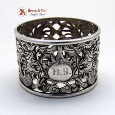 Chinese Export Dragon Open Work Napkin Ring Wo Shing 1880 Monogram HB