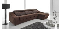 Ronaldo Sleeper Sectional in Chocolate Fabric by ESF Furniture, Made in Spain https://furnituregallerynyc.com/product/ronaldo-modern-sleeper-sectional