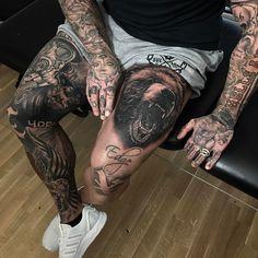 Hand Tattoos for Men Designs and Ideas for Guys. Hand Tattoos For Men Designs And Ideas For Guys. Hand Tattoos For Men Designs And Ideas For Guys. Knee Tattoo, Arm Sleeve Tattoos, Leg Tattoo Men, Thigh Tattoos For Men, Men Back Tattoos, Tattoo For Man, Back Of Neck Tattoo Men, Black Sleeve Tattoo, Thigh Sleeve