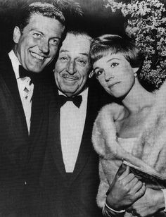 Dick Van Dyke & Walt Disney in bow ties with Julie Andrews snuggling close in fur!