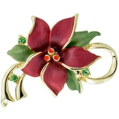 Red Poinsettia Christmas Star Flower Swarovski Crystal Pin Brooch and Pendant buy at mariescrystals.com