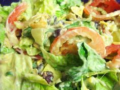 Krista's Kitchen: Mexican Salad with Creamy Avocado Dressing  And the dressing sounds GREAT!