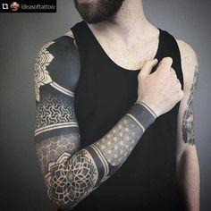 Another blast for you! Geometric tattoo with black ink and nice fading . - Another blast for you! Geometric tattoo with black ink and nice fade out by ! We wi - Geometric Shape Tattoo, Geometric Sleeve Tattoo, Mandala Tattoo Design, Tattoo Sleeve Designs, Geometric Tattoos Men, Best Sleeve Tattoos, Arm Tattoos, Tribal Tattoos, Full Tattoo