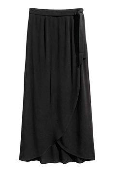 Longue jupe portefeuille - Noir - FEMME | H&M FR