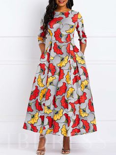 Ankle-Length Print Three-Quarter Sleeve Travel Look Standard-Waist Dress African Wear Dresses, African Attire, African Print Dress Designs, African Prints, Ankara Gown Styles, Crop Dress, African Traditional Dresses, Hijab Fashion, Flare Dress
