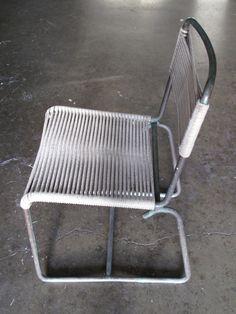 Walter Lamb side chair for Brown Jordon, patinated bronze tubing/marine cord c 1950's...good California sculpture, perfect curv...