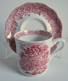 Charming Red Ironstone Transferware Cup and by OwlInAnIvyBush