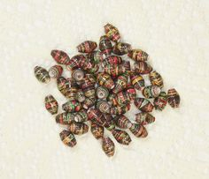 Paper Beads, Loose Handmade Jewelry Supplies Brown Paisley Floral by ThePaperBeadBoutique on Etsy
