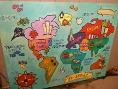 Thank you homegoods cutie corners pinterest kids rooms fun hand painted canvas of the world great kids craft gumiabroncs Choice Image