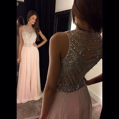 Bg61 Charming Prom Dress,Chiffon Prom Dresses,Pink Long Prom Dress,Backless Prom Dress,Beading Crystal Prom Dress