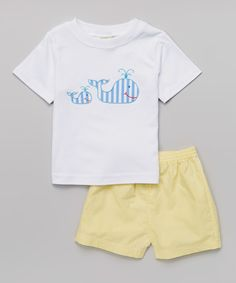 30dfa17853931 Look at this White Whale Tee & Yellow Gingham Shorts - Boys on #zulily