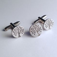 Men's Small Silver Circle Tree of Life Cuff Links by Lynx2Cuffs, $26.99