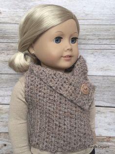 CROCHET PATTERN - 18 inch Doll Almond Button Vest PDF 17  (Fits American Girl Dolls)