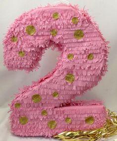 Gran número dos Pinata segunda Pinata del cumpleaños rosa