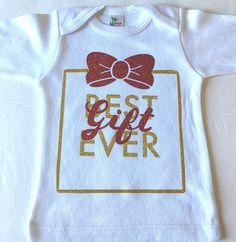 Best Gift Ever. Baby T-shirt. White Long-Sleeve Glitter Infant T-shirt. by BandedPeacock on Etsy