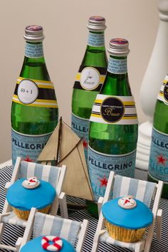 "Nautical party favor- mini bottles ""Thanks for helping us celebrate!"""