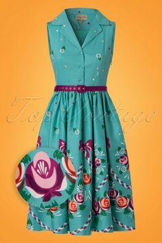 c07047460a 50s Matilda Folk Floral Swing Dress in Teal