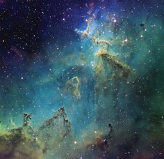 Star cluster IC 1805 and its nebula in the constellation Cassiopeia