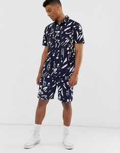 Bellfield paint stroke print co-ord in navy at ASOS. African Men Fashion, Africa Fashion, Mens Summer T Shirts, Co Ords Outfits, African Shirts For Men, Ankara Dress Styles, Cashmere Fabric, Cute Swag Outfits, Creation Couture