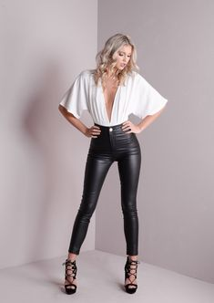 Make a statement this party season and get that ultimate head turning look with our plunge neck bodysuit Features kimono sleeves deep V neckline popper button fastening stretch fabirc Model wears UK 8 Product code Hannah White Material Po - f Leggings Brilhantes, Shiny Leggings, Leggings Are Not Pants, Women's Pants, Sexy Outfits, Sexy Dresses, Cute Outfits, Fashion Outfits, Womens Fashion