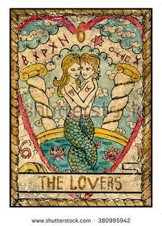 The lovers. Full colorful deck, major arcana. The old tarot card, vintage hand drawn engraved illustration with mystic symbols. Mermaid girl and boy in love hugging each other…