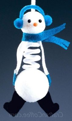 DIY Springy Snowman Ornament with two balls of Styrofoam brand foam and a chenille stem. Great gift idea, too. Christmas Activities, Christmas Crafts For Kids, Christmas Projects, Holiday Crafts, Holiday Fun, Christmas Decorations, Christmas In July, Christmas Art, Winter Christmas
